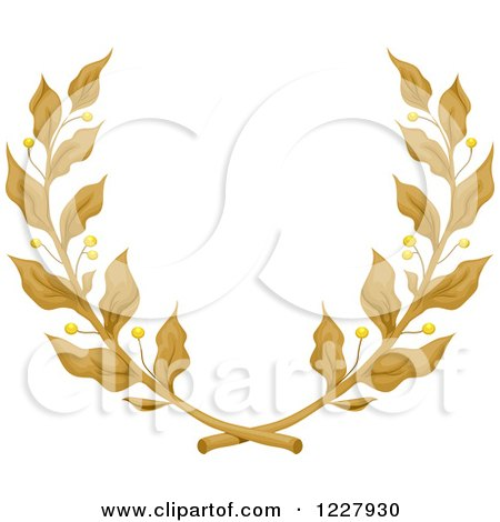 Clipart of a Laurel Wreath of Golden Branches - Royalty Free Vector Illustration by BNP Design Studio