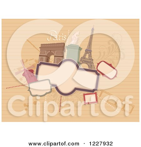 Clipart of a Paris Background with Frames and Tourist Destinations on Ruled Paper - Royalty Free Vector Illustration by BNP Design Studio