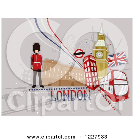 Clipart of a London Background with British Items - Royalty Free Vector Illustration by BNP Design Studio