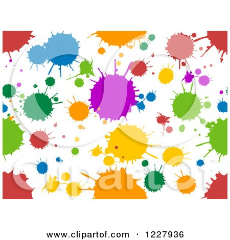 Clipart of a Seamless Background of Colorful Splatters on White - Royalty Free Vector Illustration by BNP Design Studio