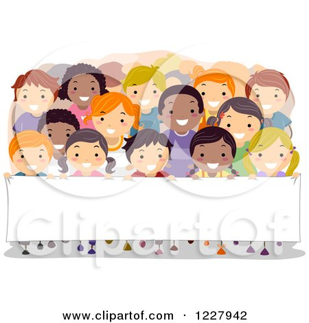 Clipart of Happy Diverse Children in Rows Behind a Banner Sign - Royalty Free Vector Illustration by BNP Design Studio