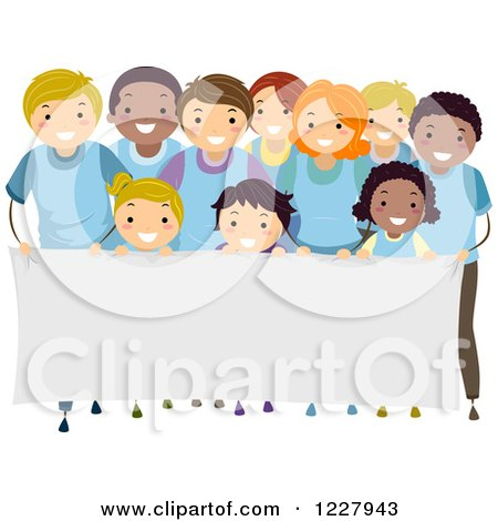 Clipart of a Happy Diverse Children and Adults in Rows Behind a Banner Sign - Royalty Free Vector Illustration by BNP Design Studio