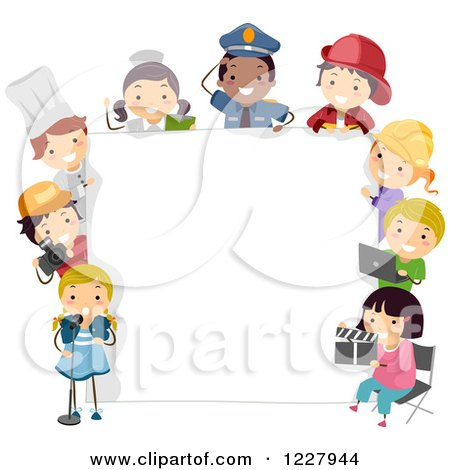 Clipart of Diverse Children in Occupational Costumes Around a Sign - Royalty Free Vector Illustration by BNP Design Studio