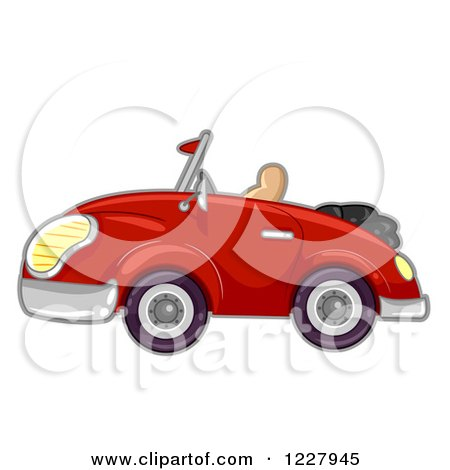 Clipart of a Red Convertible Car - Royalty Free Vector Illustration by BNP Design Studio