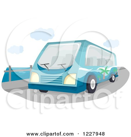 Clipart of a Tour Bus on a Bridge - Royalty Free Vector Illustration by BNP Design Studio