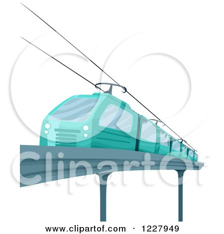 Clipart of a Blue Electric Train - Royalty Free Vector Illustration by BNP Design Studio