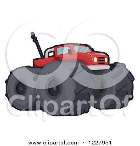 Clipart of a Red Toy Monster Truck - Royalty Free Vector Illustration by BNP Design Studio