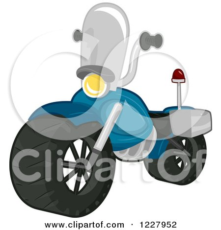 Clipart Of A Toy Police Motorcycle Royalty Free Vector Illustration