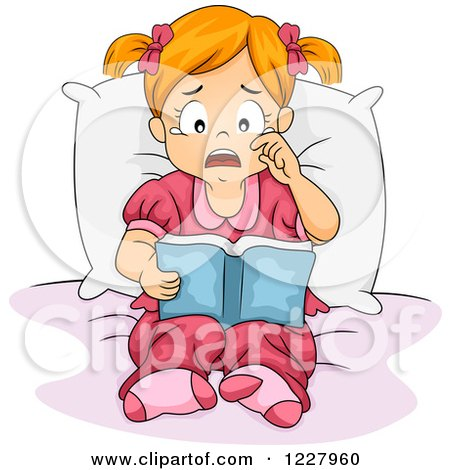 Clipart Of A Sad Girl Crying And Reding A Book Royalty Free Vector Illustration