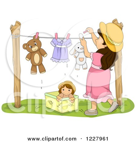 Clipart of a Brunette Girl Hanging Stuffed Animals on a Clothes Line - Royalty Free Vector Illustration by BNP Design Studio