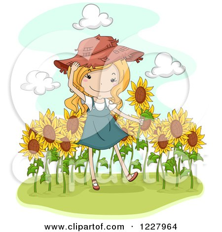 Clipart of a Happy Blond Country Girl in a Sunflower Field - Royalty Free Vector Illustration by BNP Design Studio