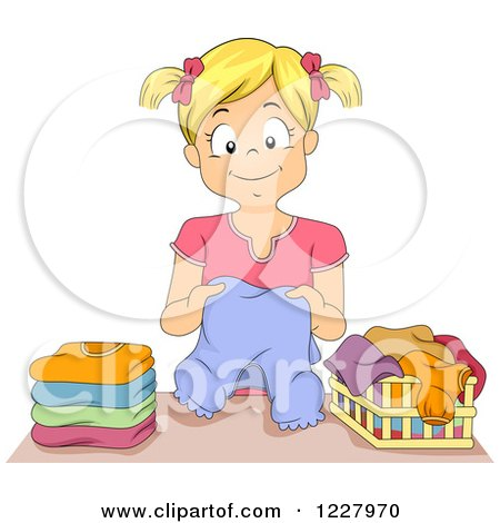 Clipart of a Happy Blond Girl Folding Laundry - Royalty Free Vector Illustration by BNP Design Studio