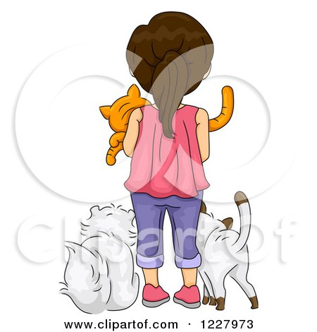 Clipart of a Rear View of a Brunette Girl with Cats - Royalty Free Vector Illustration by BNP Design Studio