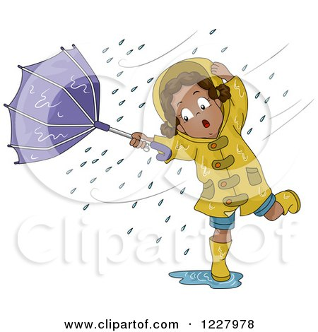 Clipart of a Black Girl Stuck in a Wind Storm Upturning Her Umbrella - Royalty Free Vector Illustration by BNP Design Studio