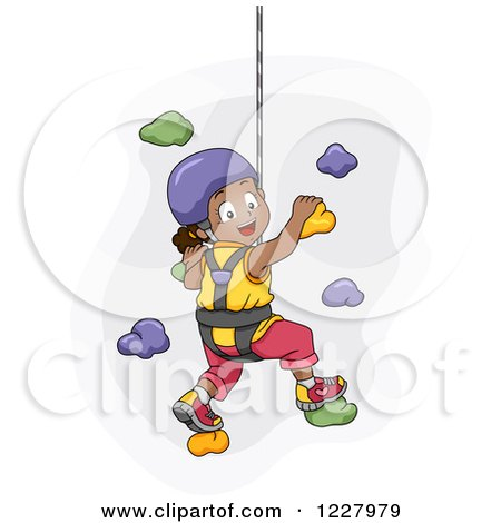 Clipart of a Happy Black Girl Climbing a Wall in a Harness - Royalty Free Vector Illustration by BNP Design Studio