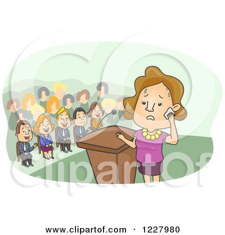 Clipart of a Sweating Woman Nervous About Giving a Speech - Royalty Free Vector Illustration by BNP Design Studio