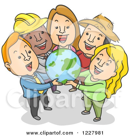 Clipart of Diverse People Holding a Globe - Royalty Free Vector Illustration by BNP Design Studio