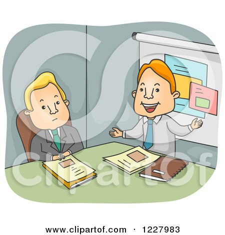 Clipart of a Bored Man Listening to a Business Proposal - Royalty Free Vector Illustration by BNP Design Studio