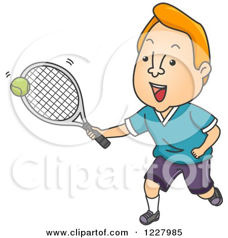 Clipart of a Male Tennis Player Hitting a Ball - Royalty Free Vector Illustration by BNP Design Studio