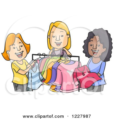 Picture - Women fighting at a clothes sale. Fotosearch - Search Stock Photography, Photos
