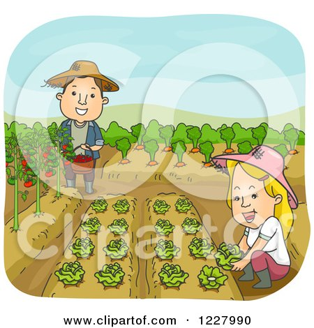 Clipart of a Happy Couple in Their Vegetable Garden - Royalty Free Vector Illustration by BNP Design Studio
