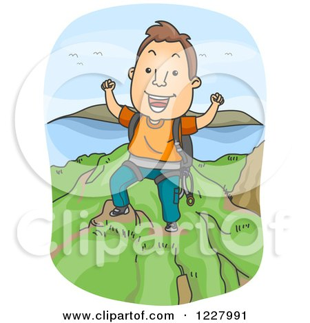 Clipart of a Man Cheering on Top of a Mountain After a Climb - Royalty Free Vector Illustration by BNP Design Studio