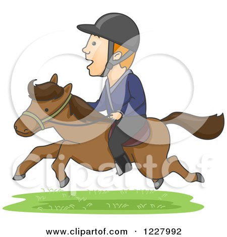 Clipart of an Equestrian Man Riding a Horse - Royalty Free Vector Illustration by BNP Design Studio