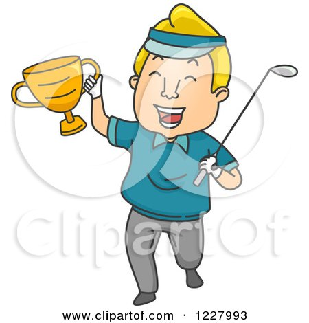 Clipart of a Golfer Champion Holding a Trophy and Club - Royalty Free Vector Illustration by BNP Design Studio
