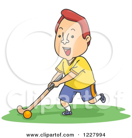Clipart of a Man Playing Field Hockey - Royalty Free Vector Illustration by BNP Design Studio