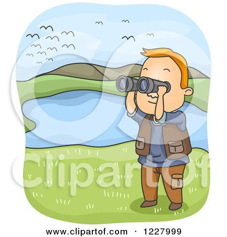 Clipart of a Man Watching Birds with Binoculars by a Pond - Royalty Free Vector Illustration by BNP Design Studio