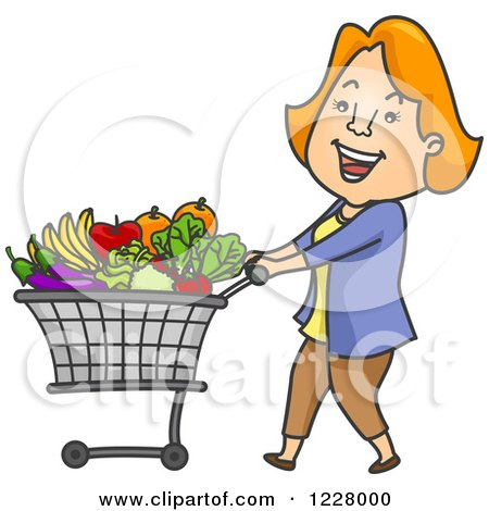 Clipart of a Happy Woman Pushing a Shopping Cart Full of Produce - Royalty Free Vector Illustration by BNP Design Studio