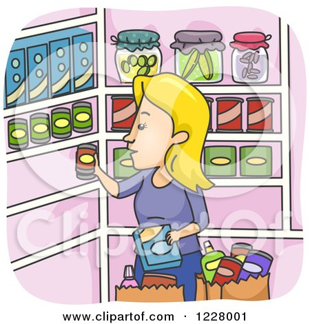 Clipart of a Woman Stocking up Her Pantry - Royalty Free Vector Illustration by BNP Design Studio
