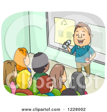 Clipart of a Man Lecturing Teenagers on Recycling - Royalty Free Vector Illustration by BNP Design Studio
