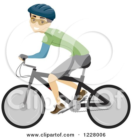 Clipart of a Happy Cyclist Man on a Bike - Royalty Free Vector Illustration by BNP Design Studio