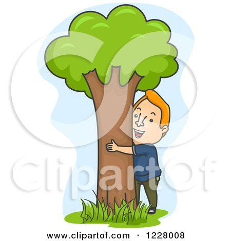 Happy Man Hugging a Tree Posters, Art Prints