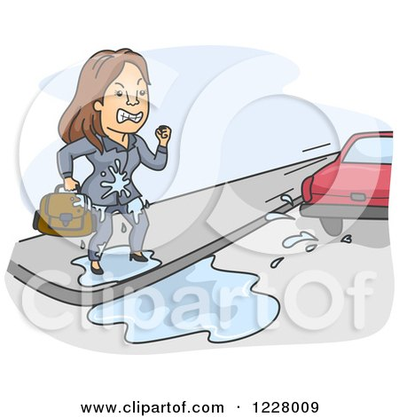 Clipart of a Mad Businesswoman Being Splashed by a Passing Car - Royalty Free Vector Illustration by BNP Design Studio
