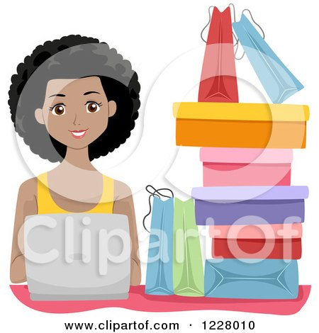 Clipart of a Happy Black Woman with Shopping Bags and a Laptop - Royalty Free Vector Illustration by BNP Design Studio