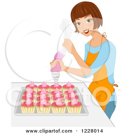 Clipart of a Happy Brunette Woman Icing Cupcakes - Royalty Free Vector Illustration by BNP Design Studio