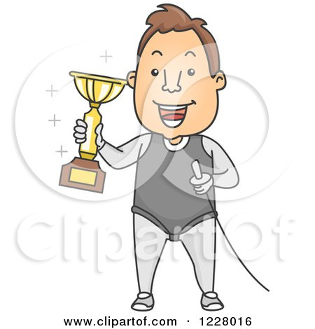 Clipart of a Male Fencer Holding a Trophy and Sword - Royalty Free Vector Illustration by BNP Design Studio