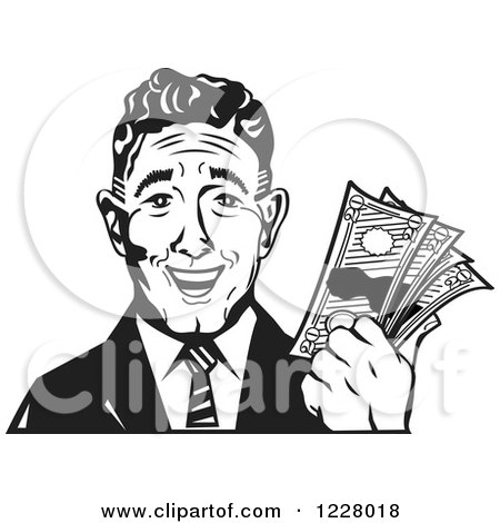 Clipart of a Black and White Retro Business Man Holding Cash Money - Royalty Free Vector Illustration by Andy Nortnik