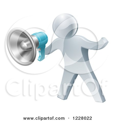 Clipart of a 3d Silver Man Announcing with a Megaphone - Royalty Free Vector Illustration by AtStockIllustration