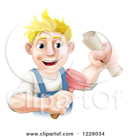 Clipart of a Blond Man Holding a Plunger and Degree - Royalty Free Vector Illustration by AtStockIllustration
