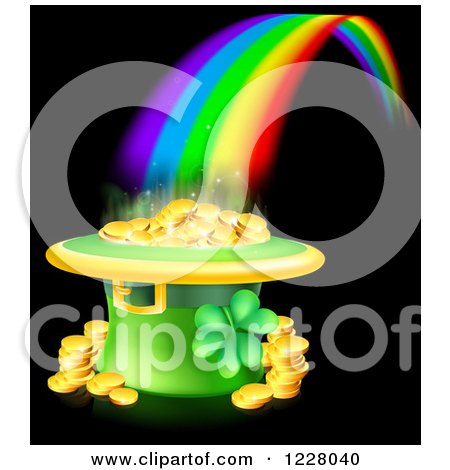 Clipart of a St Patricks Day Leprechaun Hat Pot of Gold and Rainbow on Black - Royalty Free Vector Illustration by AtStockIllustration