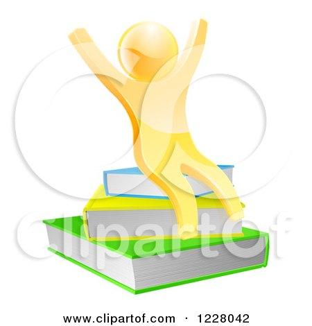Clipart of a 3d Gold Person Cheering and Sitting on a Stack of Books - Royalty Free Vector Illustration by AtStockIllustration
