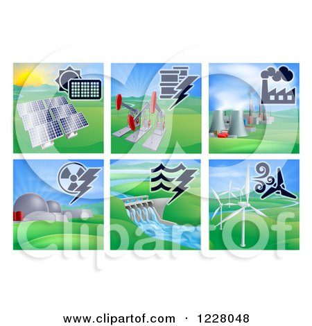 Clipart of Different Energy Power Plants - Royalty Free Vector Illustration by AtStockIllustration