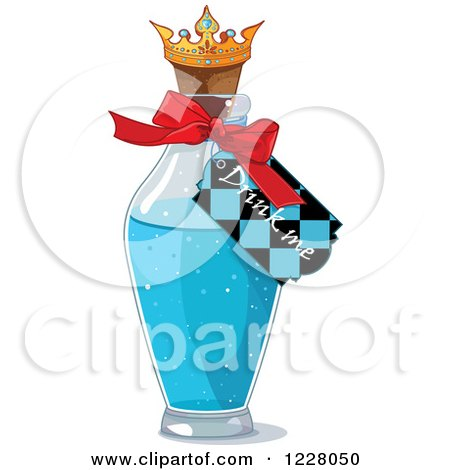 Clipart of a Drink Me Tag on a Bottle in Wonderland - Royalty Free Vector Illustration by Pushkin
