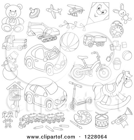 Clipart of Outlined Childrens Toys - Royalty Free Vector Illustration by Alex Bannykh