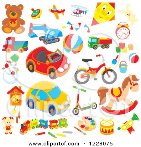 Clipart of Childrens Toys - Royalty Free Vector Illustration by Alex Bannykh