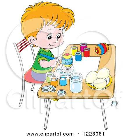 Clipart of a Caucasian Boy Painting Easter Eggs - Royalty Free Vector Illustration by Alex Bannykh