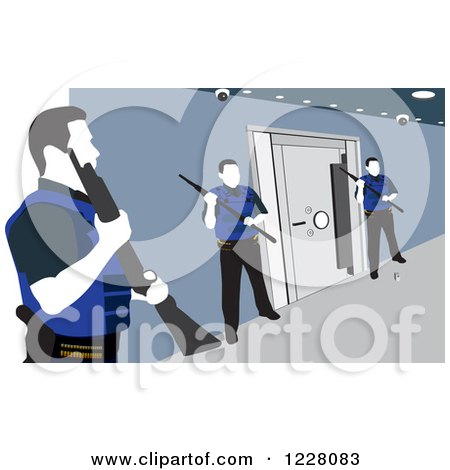 Clipart of Three Guards Around a Safe Vault - Royalty Free Vector Illustration by David Rey